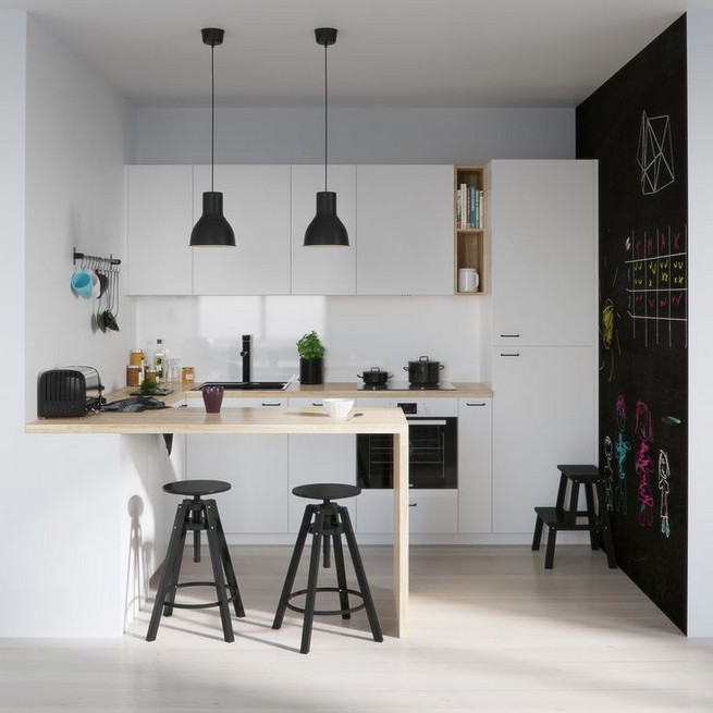 21 Inspiring Black And White Wall Design Ideas For Kitchen 06