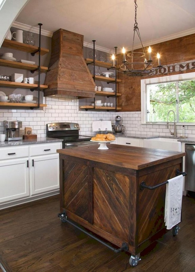 21 Stylish Rustic Kitchen Decor Open Shelves Ideas 21