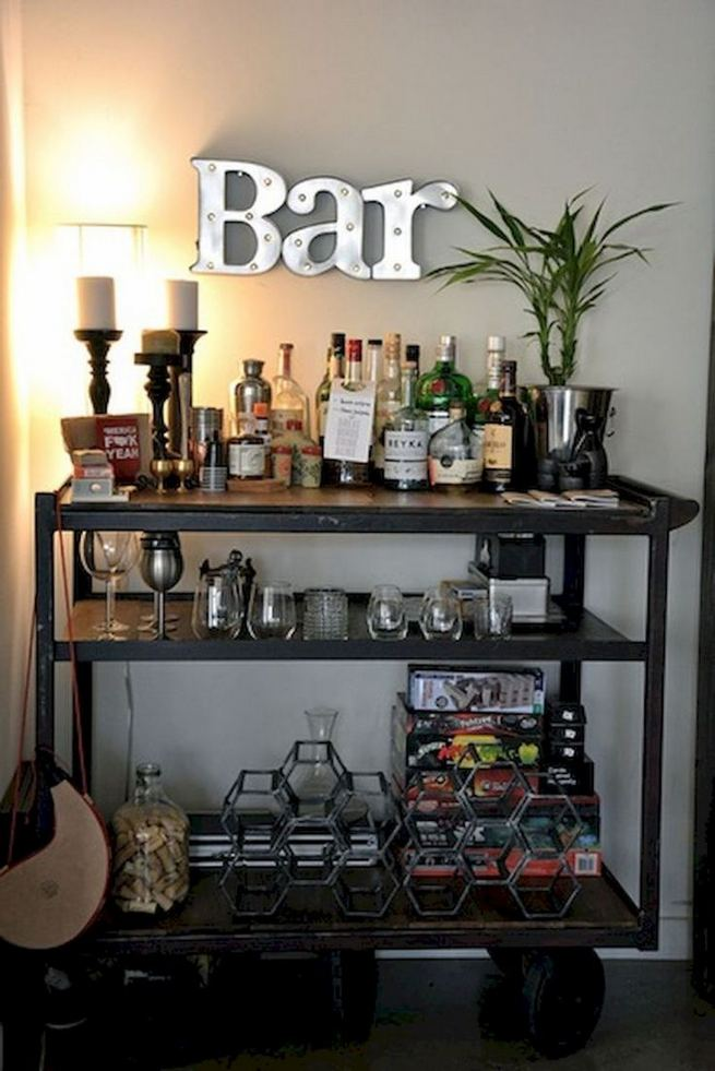 15 Affordable Masculine Bar Cart Design Ideas 07 1