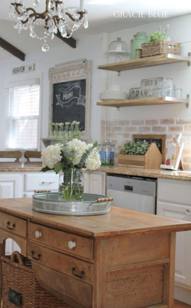 14 Stunning Vintage Wooden Kitchen Island Decor Ideas 27