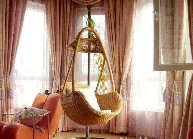 16 Adorable Rattan Hanging Chair Design Ideas 26
