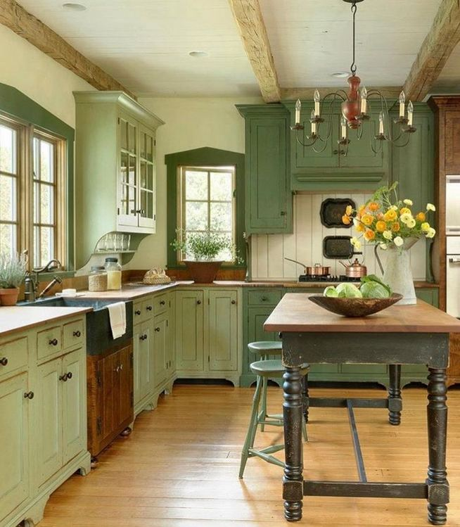 17 Inspiring Country Style Cottage Kitchen Cabinets Ideas 25