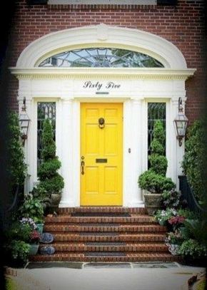 13 Fantastic Yellow Brick Home Decor Ideas For Front Door 14