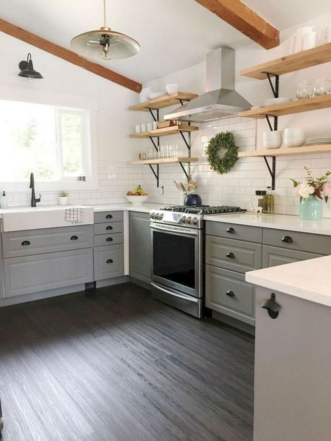 15 Incredible Farmhouse Gray Kitchen Cabinet Design Ideas 07