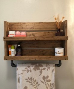 15 Models Bathroom Shelf With Industrial Farmhouse Towel Bar 01