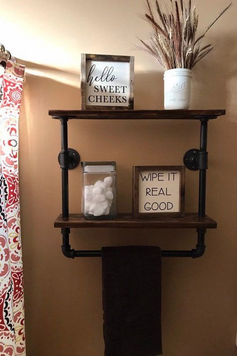 15 Models Bathroom Shelf With Industrial Farmhouse Towel Bar 05