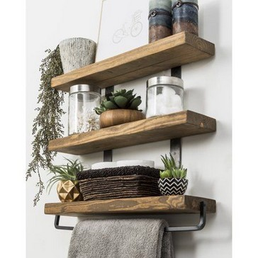 15 Models Bathroom Shelf With Industrial Farmhouse Towel Bar 08