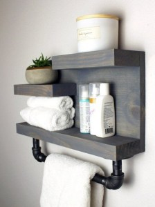 15 Models Bathroom Shelf With Industrial Farmhouse Towel Bar 12