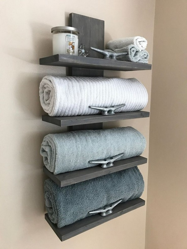 15 Models Bathroom Shelf With Industrial Farmhouse Towel Bar 14