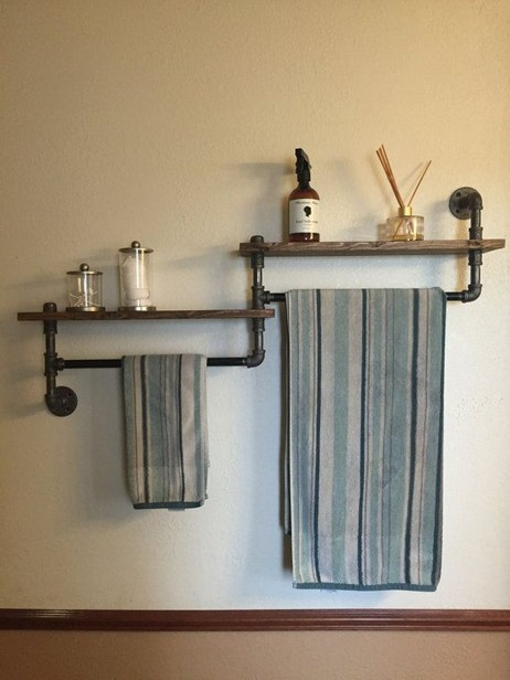 15 Models Bathroom Shelf With Industrial Farmhouse Towel Bar 18
