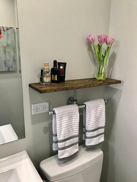 15 Models Bathroom Shelf With Industrial Farmhouse Towel Bar 21