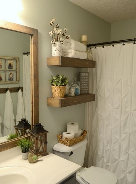 15 Models Bathroom Shelf With Industrial Farmhouse Towel Bar 24