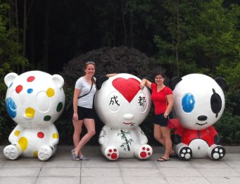 Amber and me, hanging in the panda art gallery.
