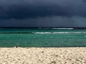 A storm rolling onto Baby Beach.