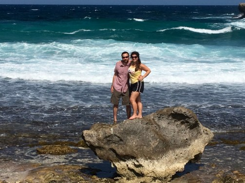 Husband and me, claiming our own slice of the Caribbean.