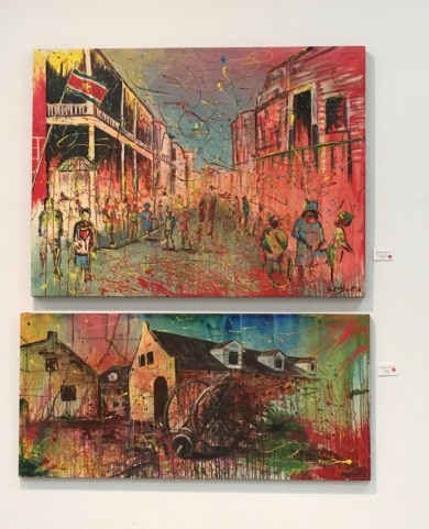 Gorgeous work by Overdo Berghout. The top painting is one of my favorites, as it captures so beautifully the gaiety and freedom of Surinamese celebrations like Owru Yari and Holi Pagwa.