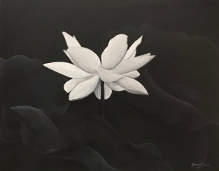An atmospheric painting of a white lotus by Soeris Dipai.