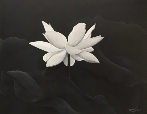 An atmospheric painting of a white lotus by Soeris Dipai.