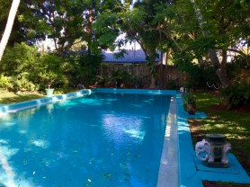 This pool, upon completion in 1938, cost $20,000 in the currency of the day. (Or, approximately $350,000 today.) It was the only in-ground pool within 100 miles when built, and was dug out of the solid coral that comprises the island.