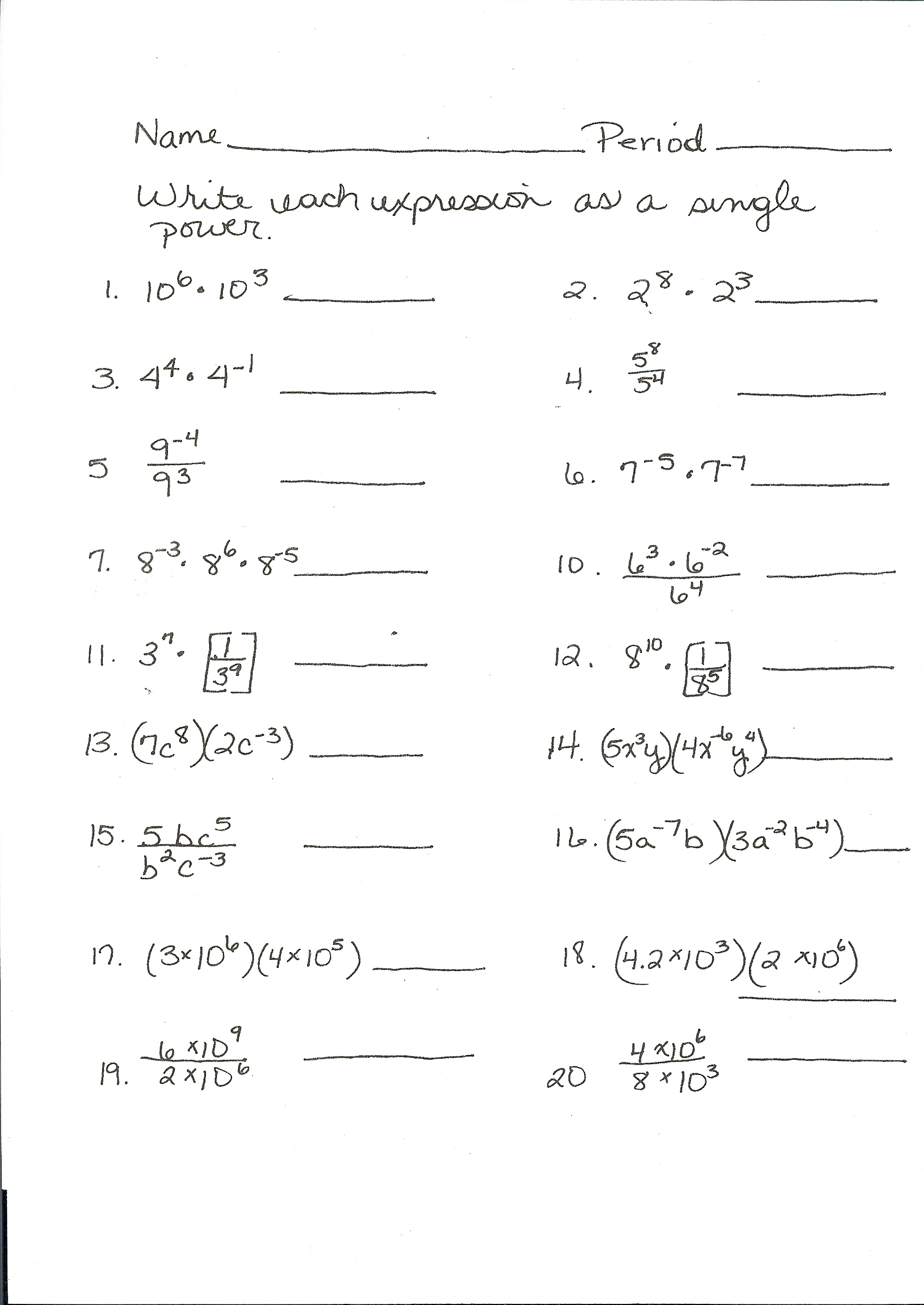 Math Daily Revision Worksheets Algebra 1 Substitution Questions
