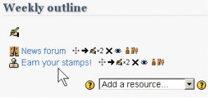 Necessary icons, but still clutter when many activities and resources are present.
