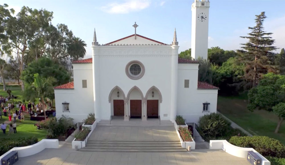 Aerial drone shot of Sacred Heart Chapel