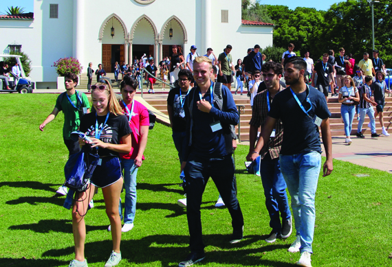 LMU students walking in front of Chapel