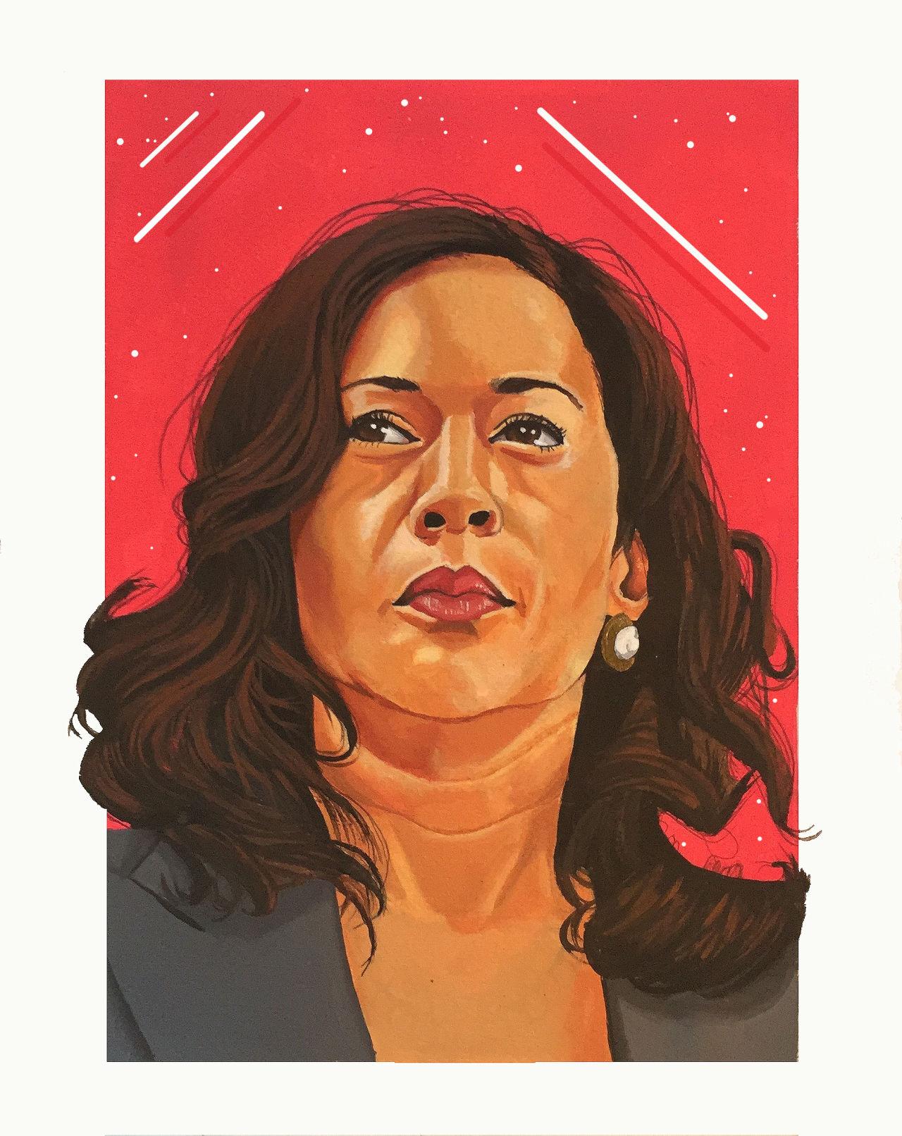 Kamala Harris Lenny red background