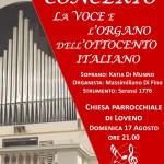 la locandina del concerto d\'organo a Loveno di Menaggio il 17 agosto 2014