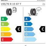 etichetta identificativa con gli indici di consumo e tenuta strada nonchè rumorosità della Barum OR56 Cargo