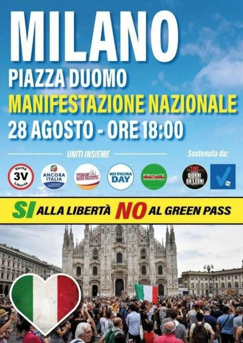 Chi sono i manifestanti contro la dittatura?, locandina manifestazione nazionale contro la dittautra del 28 agosto 2021 a Milano