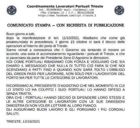 comunicato portuali Trieste 20211012