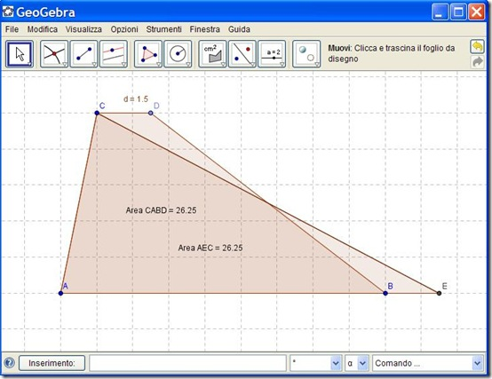 Verifica l'area del trapezio con GeoGebra