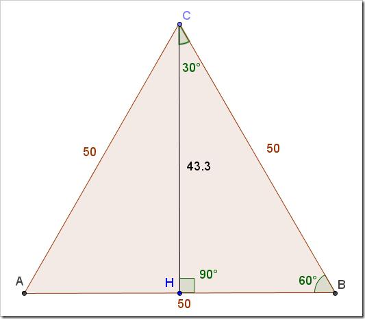 Trovare il lato del triangolo equilatero sapendone l'altezza