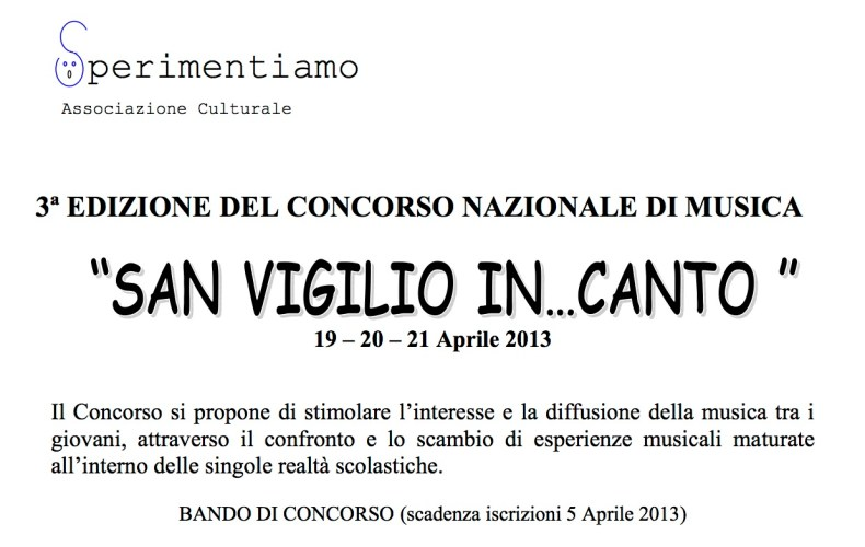"""Concorso Nazionale di Musica """"San Vigilio In...Canto 2013"""""""