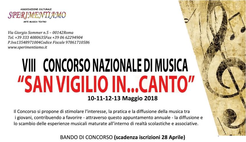 """8° Concorso Nazionale di Musica """"San Vigilio In … Canto"""" 2018"""