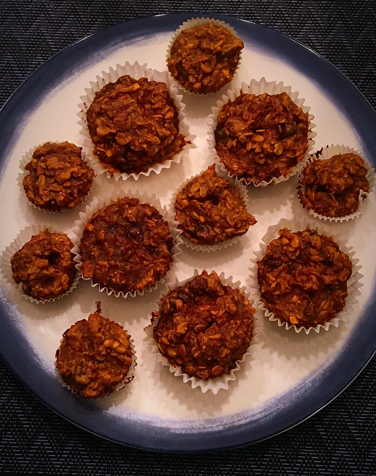 Pumpkin Peanut Butter Chocolate Chip Granola Oatmeal Muffins