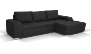 Denver Corner Sofa Black Leather 17PO48878/2 D-05-01 2 Pakete
