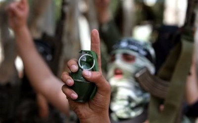 Palestinian Fighters with Grenade