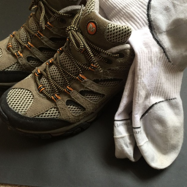 SmartWool PhD Running socks and Merrell Moab Hiking Shoes