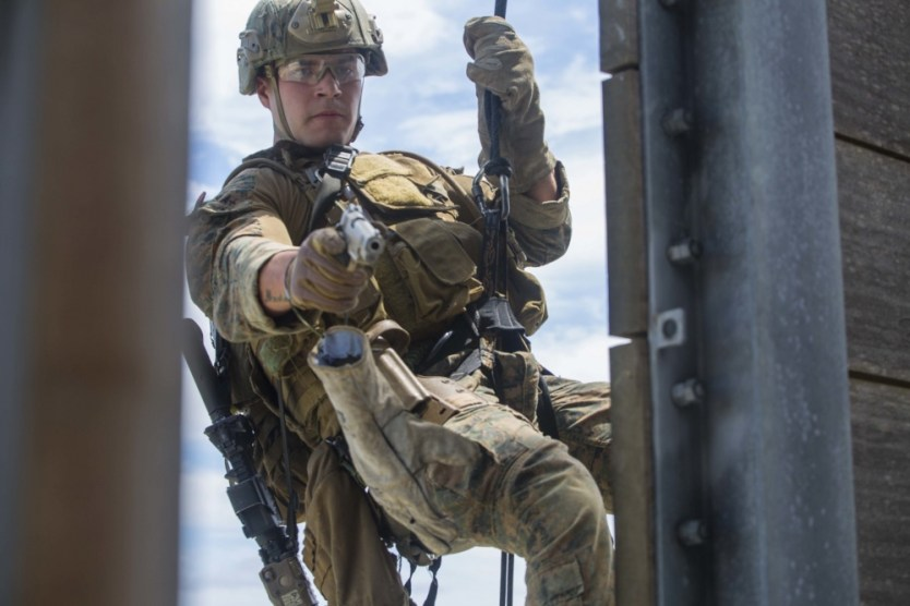 Loadout Room photo of the day   31st MEU Recon Marines Rappel for Practice
