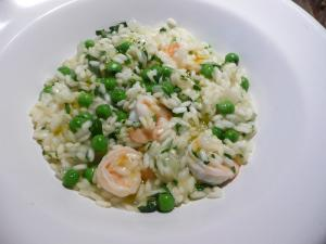 Pea, prawn and mint risotto