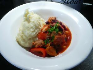Pork, chorizo and bean stew