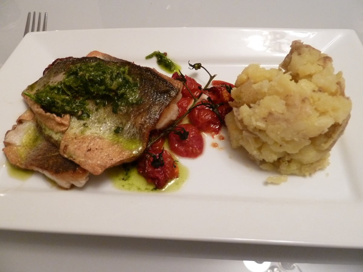 sea bass with crushed potato