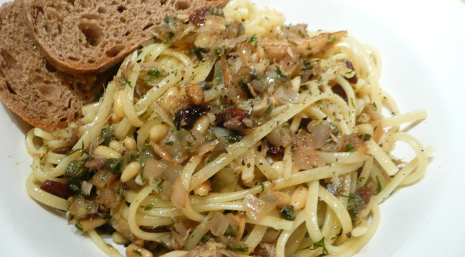 Pasta with mackerel, Marsala and pine nuts