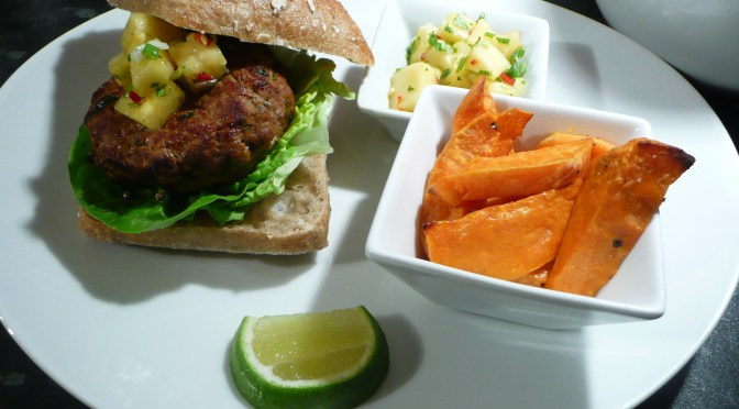 Thai turkey burgers with pineapple salsa and sweet potato chips
