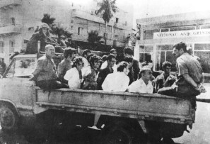 Greek Cypriot prisoners being transferred to Turkey. This photograph appeared in Turkish newspaper Hayat on 19 September 1974.