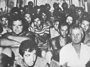 Greek Cypriot prisoners in 1974 being transferred to Turkey. Some of the people identified in this photograph are unaccounted for.