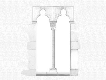 Reconstrucción del ventanal donde se encontraba el capitel de Ifach. Archivo gráfico MARQ