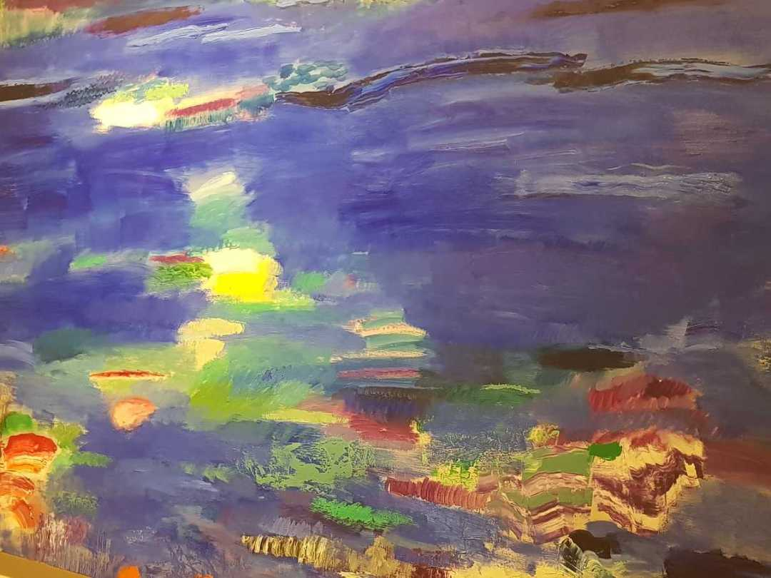 """Azul para mi madre"". Oleo / tela 150x250. Lonja del Pescado. Foto: Juanjo Cervetto"
